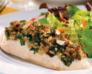 Parmesan Chicken Topped with Spinach and Almonds recipe photo from the Diabetic Gourmet Magazine diabetic recipes archive.