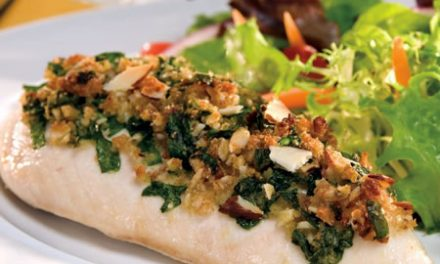 Parmesan Chicken Topped with Spinach and Almonds