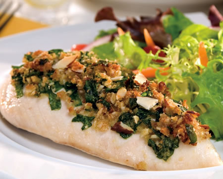 Parmesan Chicken Topped with Spinach and Almonds Recipe Photo - Diabetic Gourmet Magazine Recipes