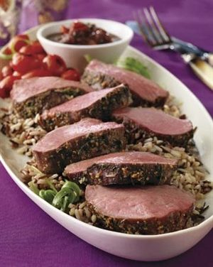Parmesan-Crusted Tenderloin with Mushroom Sauce