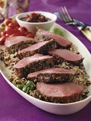 Parmesan-Crusted Tenderloin with Mushroom Sauce Recipe Photo - Diabetic Gourmet Magazine Recipes