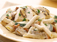 Penne and Chicken with Garlic Cream Sauce Recipe Photo - Diabetic Gourmet Magazine Recipes