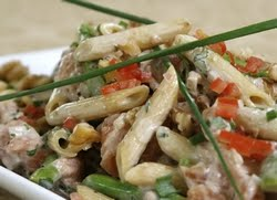 Penne and Smoked Salmon Pasta Salad Recipe Photo - Diabetic Gourmet Magazine Recipes