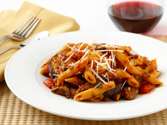 Penne with Roasted Eggplant and Savory Mushroom Ragout Recipe Photo - Diabetic Gourmet Magazine Recipes