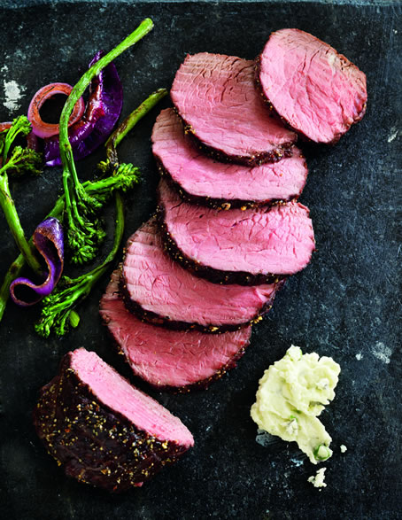 Peppered Top Sirloin Roast with Sauteed Broccolini Recipe Photo - Diabetic Gourmet Magazine Recipes