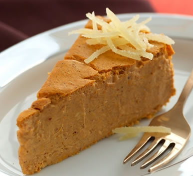 Pumpkin-Maple Crustless Cheesecake Recipe Photo - Diabetic Gourmet Magazine Recipes