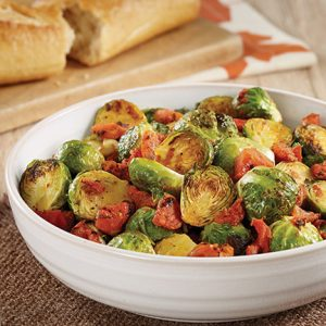 Roasted Brussels Sprouts with Tomatoes recipe photo from the Diabetic Gourmet Magazine diabetic recipes archive.
