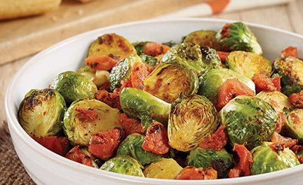 Roasted Brussels Sprouts with Tomatoes