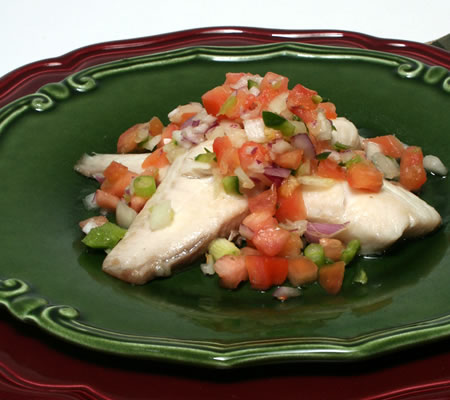 Roasted Fish with Christmas Salsa Recipe Photo - Diabetic Gourmet Magazine Recipes