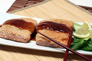Sesame Salmon recipe photo from the Diabetic Gourmet Magazine diabetic recipes archive.