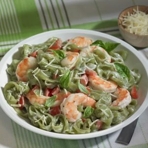 Skinny Shrimp Fettuccine Alfredo recipe photo from the Diabetic Gourmet Magazine diabetic recipes archive.