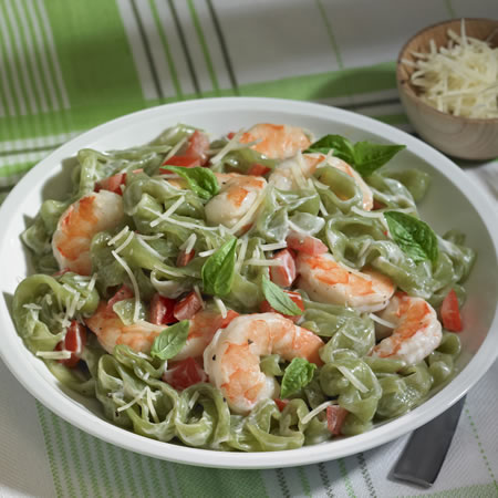 Skinny Shrimp Fettuccine Alfredo Recipe Photo - Diabetic Gourmet Magazine Recipes