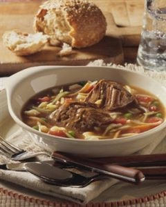 Slow Cooker Pot Roast Soup recipe photo from the Diabetic Gourmet Magazine diabetic recipes archive.