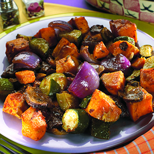 Southwestern Roasted Vegetables recipe photo from the Diabetic Gourmet Magazine diabetic recipes archive.