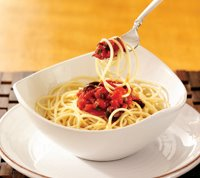 Spaghetti alle Olive e Pomodoro (Spaghetti with Olives and Tomatoes) Recipe Photo - Diabetic Gourmet Magazine Recipes