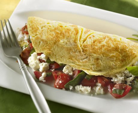 Spinach, Feta and Grape Tomato Omelet