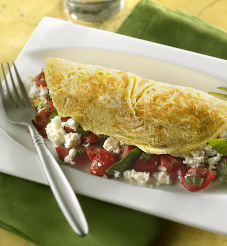 Spinach, Feta and Grape Tomato Omelet Recipe Photo - Diabetic Gourmet Magazine Recipes