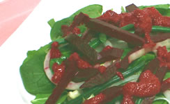 Spinach Salad with Creamy Beet Dressing