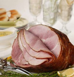 Spiral-Cut Ham with Slow-Roasted Asparagus and Lemon-Thyme Sauce