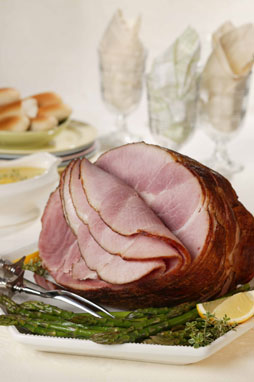 Spiral-Cut Ham with Slow-Roasted Asparagus and Lemon-Thyme Sauce Recipe Photo - Diabetic Gourmet Magazine Recipes