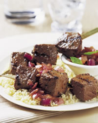 Steak Kabobs With Caramelized Onion Relish Recipe Photo - Diabetic Gourmet Magazine Recipes