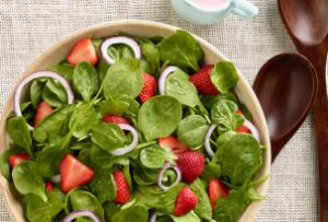 Strawberry Spinach Salad with Buttermilk Dressing recipe photo from the Diabetic Gourmet Magazine diabetic recipes archive.