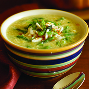 Sweet Corn Soup With Crab and Asparagus