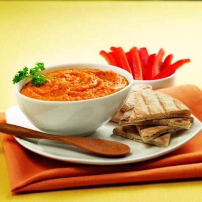 Sweet Red Pepper Hummus Recipe Photo - Diabetic Gourmet Magazine Recipes