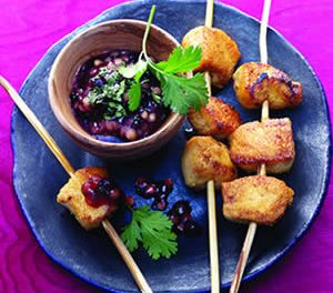 Tandoori Chicken Skewers with Blueberry-Fig Sauce