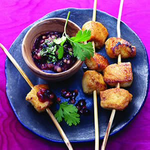 Tandoori Chicken Skewers with Blueberry-Fig Sauce Recipe Photo - Diabetic Gourmet Magazine Recipes