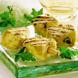 Thai-Style Halibut on Lemon Grass Skewers