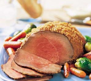 Three-Mustard Beef Round Tip with Roasted Baby Carrots and Brussels Sprouts