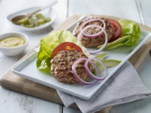 Turkey Bacon Burger recipe photo from the Diabetic Gourmet Magazine diabetic recipes archive.