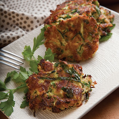 Zucchini Parmesan Fritters Recipe Photo - Diabetic Gourmet Magazine Recipes