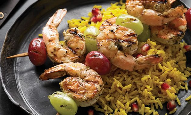 Zahtar Shrimp and Grape Kabobs