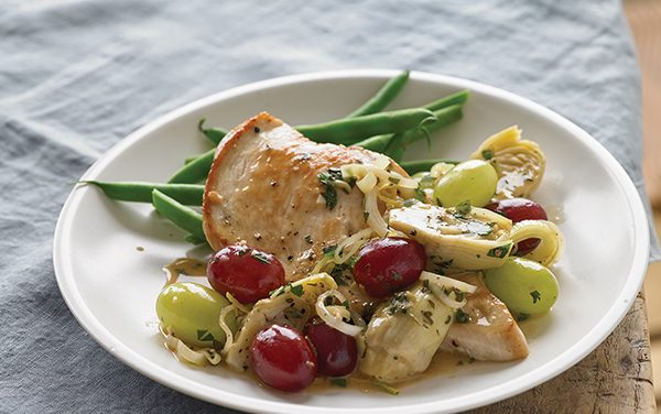 Diabetic valentines day recipes diabetic gourmet magazine seared chicken with grapes and artichokes forumfinder Images