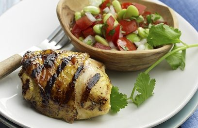 Curry-Lime Chicken with Tomato-Bean Salad
