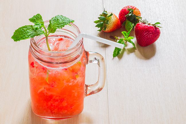 Strawberry and Orange-Rhubarb Refresher with Mint Recipe Photo - Diabetic Gourmet Magazine Recipes