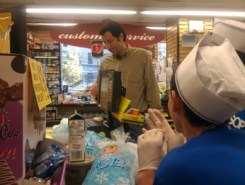 Photo of Steve Fanto buying supplies at the grocery store