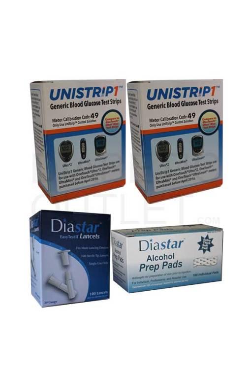 Unistrip-test-strips-diastar-II-lancets-diastar-alcohol-swabs