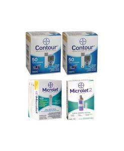 CONTOUR + MICROLET LANCETS + MICROLET2 LANCING DEVICE