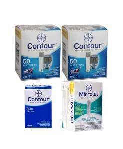 CONTOUR + MICROLET LANCETS + CONTROL SOLUTION HIGH
