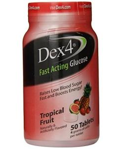 Dex4 Glucose Tablets 50 count Tropical Fruit Flavor