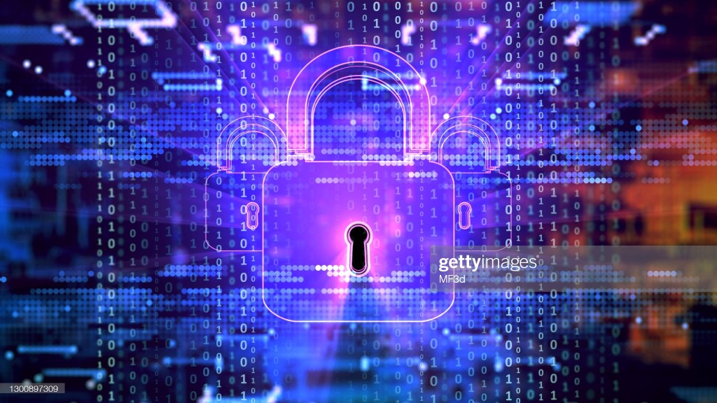 Digital background depicting innovative technologies in security systems, data protection Internet technologies