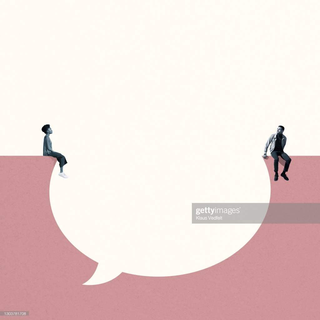 Young man and woman sitting around large blank thought bubble against white background