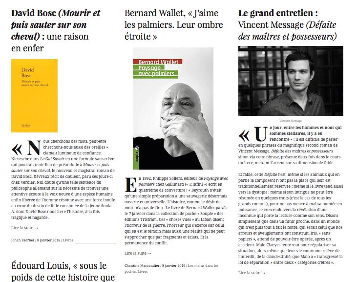 La UNE littéraire du vendredi 8 janvier jusque dans son jeu oulipien avec l'allemand NEU