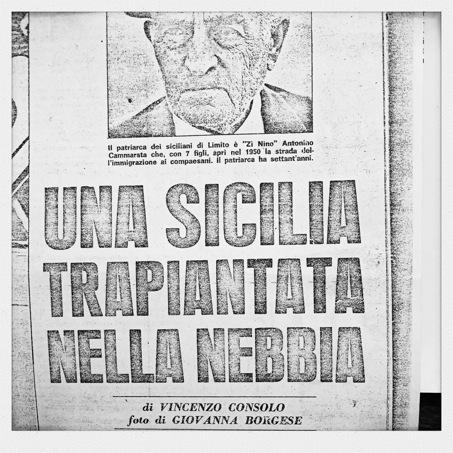 L'article « Una Sicilia trapiantata nella nebbia » est publié en 1970 dans Il Tempo illustrato. Photographie et archives de Simona Crippa