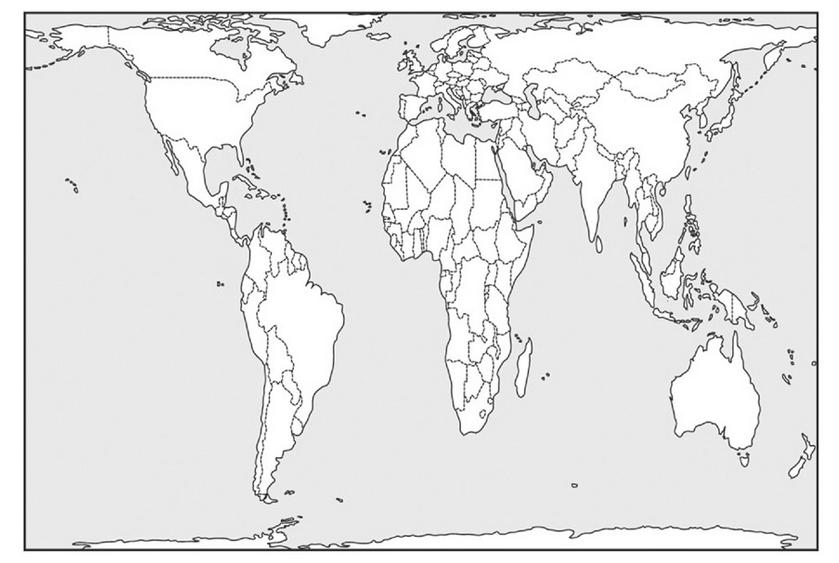 Mappemonde selon la projection de Peters