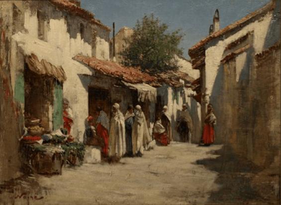 Maxime Noiré – Les marchands arabes à Biskra. Isabelle Eberhardt a dédié les Pleurs d'amandiers au peintre orientaliste qui était son ami, « le peintre des horizons en feu et des amandiers en pleurs »