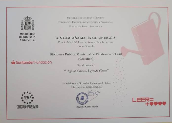 La Biblioteca de Vilafranca guardonada per la seua labor cultural